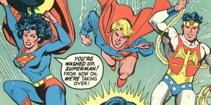 Reverse Gendered Superman Superboy and Wonder Woman - Las 15 bromas más locas que Mr. Mxyzptlk le ha hecho a Superman