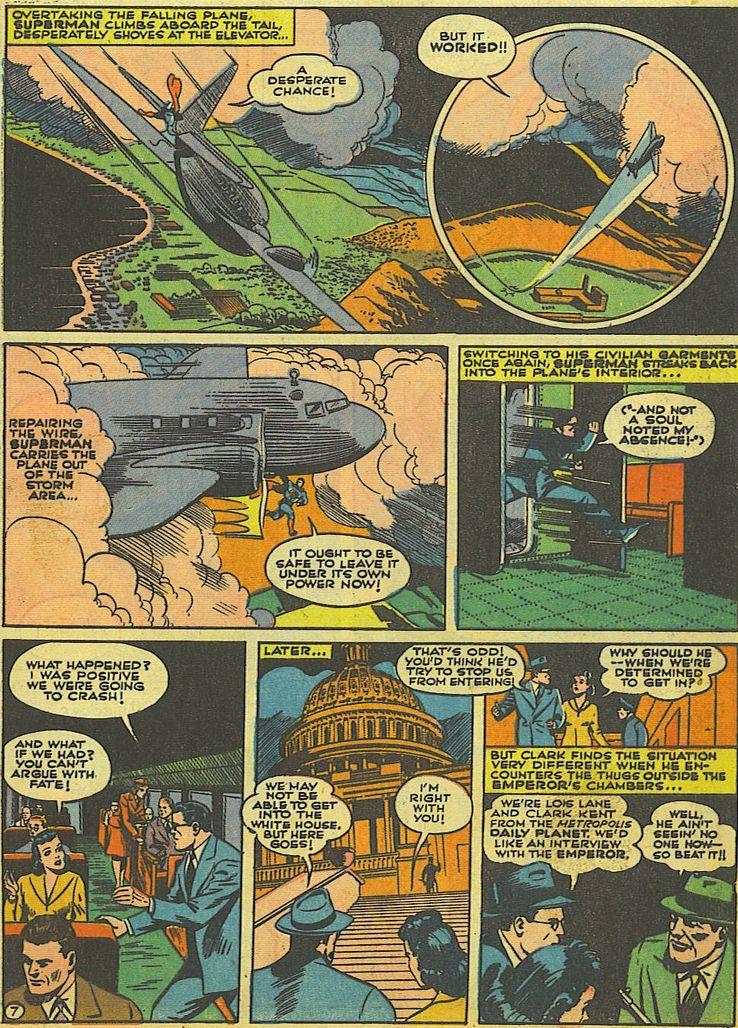 action comics 52 2 1 - La primera vez que Superman salvó un avión en los cómics