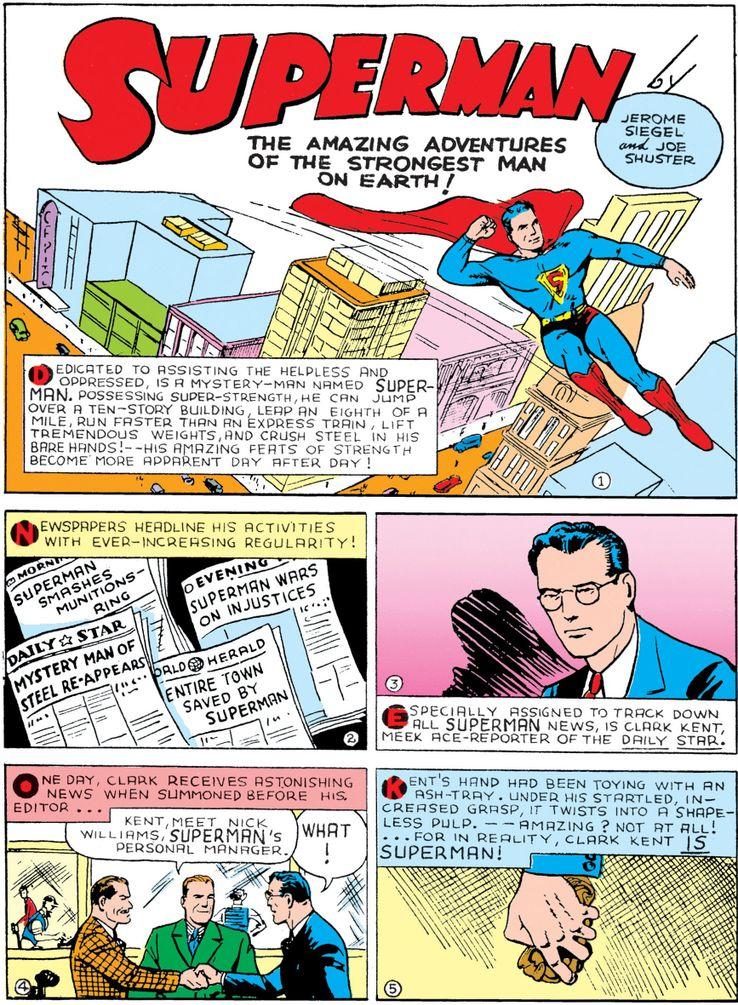 """cape action comics 6 1 - ¿Cuándo añadió Superman una """"S"""" a su capa?"""