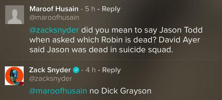 snyder grayson 01 - Zack Snyder desvela qué Robin fue asesinado por el Joker