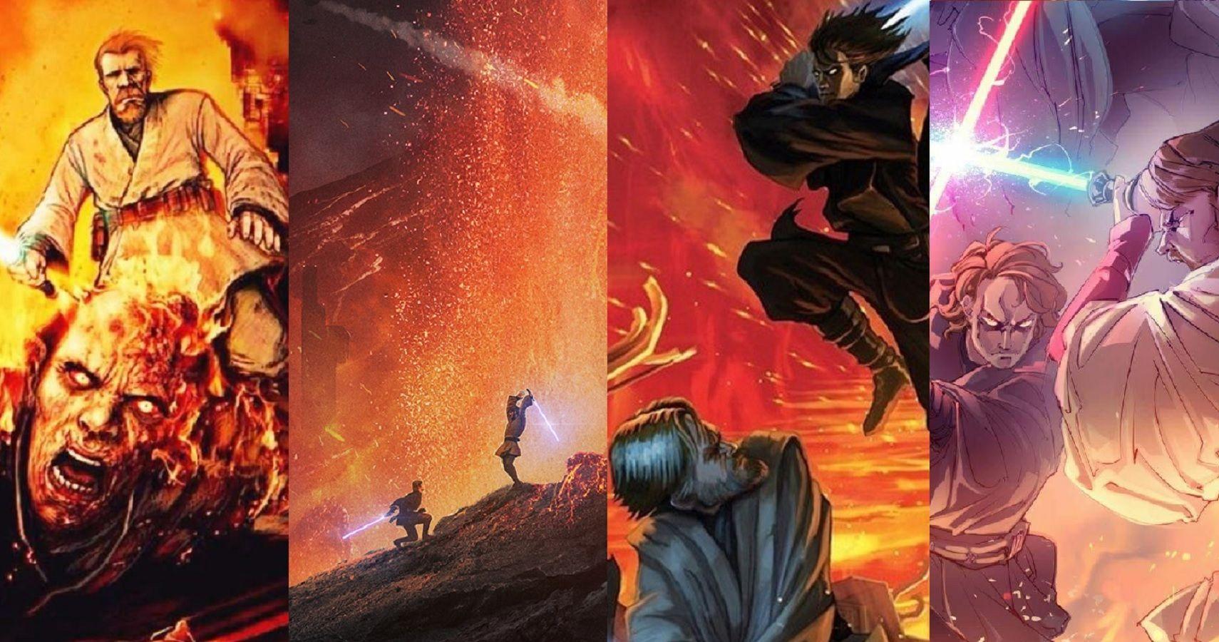Star Wars 10 Epic Fan Art Pieces Of Obi Wan Anakin S Duel On Mustafar